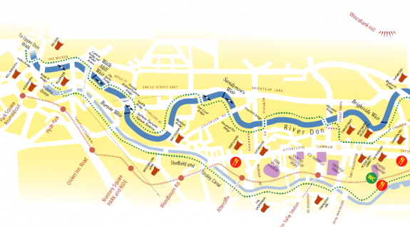 The Five Weirs Walk route in Sheffield.