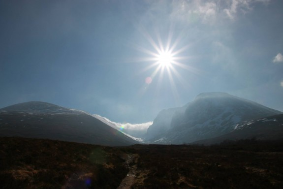 The view from the trail beneath Ben Nevis - not foreboding at all
