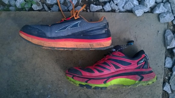 See the midsole on the Hoka (bottom) where it's been 'customised'.