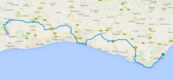 62 miles from Eastbourne to Arundel.