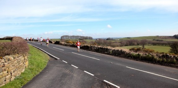 Finally rounding the top of the course, Sheephill Rd and approaching the first major downhill.