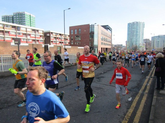 Myself in the Red, with Mr. Brockwell leading along Ecclesall Rd.