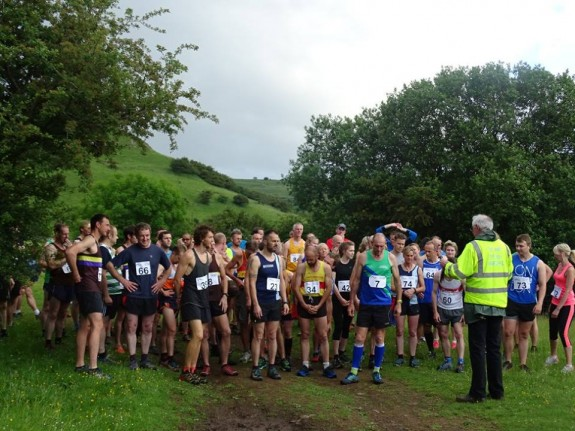 Photo courtesy of Tideswell Fell Race FB page. I'm in there. To the right. Pondering.