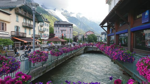 Chamonix, centre, with its cold emitting river...
