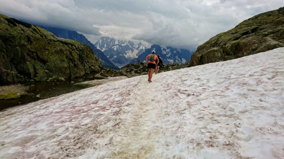 Even in July, the occasional snowfield to run across.